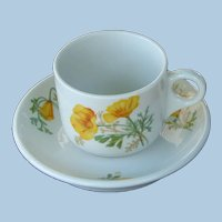 Santa Fe / Fred Harvey California Poppy Railroad China Cup and Saucer Set