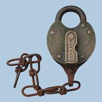 Scarce Delaware, Lackawanna & Western Railroad Brass Pebbled Switch Lock with Key