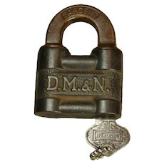 Extremely Nice DM&N Railroad Pin Tumbler Lock & Key Set by Sargent
