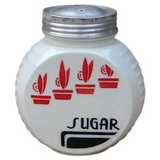 Anchor Hocking Vitrock Red Black & White Deco SUGAR Range Set Shaker