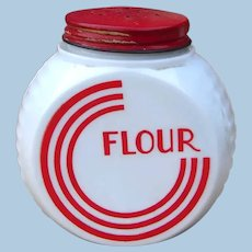 Depression Era Hocking Vitrock Red and White Range Set FLOUR Shaker
