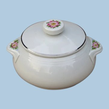 Superb Hall China Company Rose White Tab Handle Drip Grease Jar with Lid