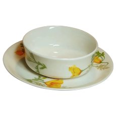 Scarce Fred Harvery Santa Fe Railroad China California Poppy Ramekin & Saucer Set