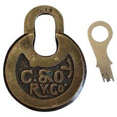 Vintage Chesapeake & Ohio Railway Railroad Brass Six-Lever Pancake or Push Key Lock and Key Set