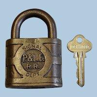 Vintage P&LE Railroad Brass Signal Department Working Padock & Key Set