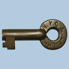 """Scarce """"Nickel Plate"""" Early New York, Chicago & St. Louis Railroad Brass Switch Key"""