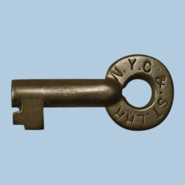 "Scarce ""Nickel Plate"" Early New York, Chicago & St. Louis Railroad Brass Switch Key"