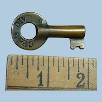 Vintage C&N Division Railroad Brass Key from the Columbus & Newark Subdivision Railway