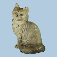 Vintage Hubley Cast Iron Sitting Persian Cat Full Body Doorstop Door Stop