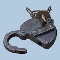 Early Omaha Road - Chicago, Milwaukee, St. Paul & Omaha Railway - Railroad Brass Switch Key and Lock Set