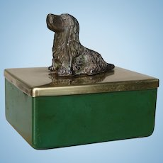 Early 1900s Cocker Spaniel Dog Figural Small Brass Dresser or Desk Trinket Box