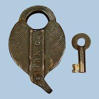 Vintage Monongahela Railroad Brass Cast Panel MRR Co. Lock and Key Set