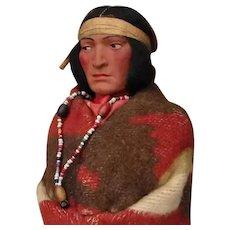 Vintage Native American Bully Good Skookum 12-inch Indian Man Doll with Original Label