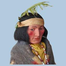 "Circa 1930s-1940s era 12"" Bully Good Skookum Indian Native American Man Doll w/ Original Label"