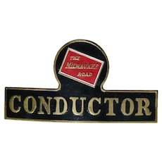 Vintage Milwaukee Road Railroad Uniform Conductor Hat Badge