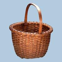 Sweet Small Ash Splint Antique Handled Basket