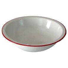 Vintage Enamelware Basin Bowl White with Red Trim Porcelain