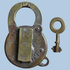 Unusual Union Pacific Railroad Brass Six-Lever Utility Lock & Key Set