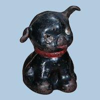"Scarce All Black Hubley Cast Iron ""FIDO"" Terrier Dog Still Bank"