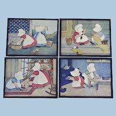 "Group of FOUR Sunbonnet Babies 1904 ""Juvenile Industries"" Prints Ready to Hang ~ Bertha Corbett Melcher"