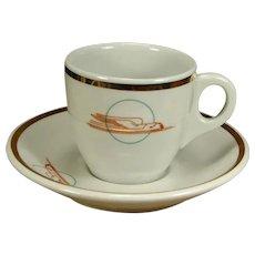 Beautiful Union Pacific Railroad China Demitasse Cup & Saucer Set