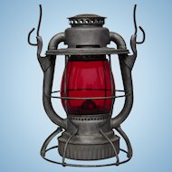 Authentic New York Ontario & Western Railroad Dietz Vesta Lantern With Red Corning Glass Globe NYO&WRR