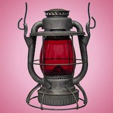 Authentic New York Ontario & Western Railroad Dietz Vesta Lantern With Red Corning Glass Globe NYO&WRR