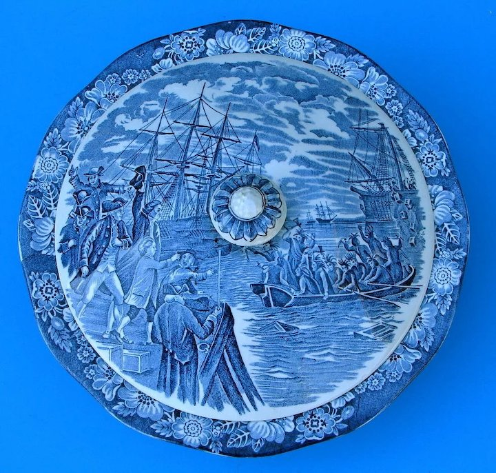 Vintage Liberty Blue China Large Covered Vegetable Bowl Boston Tea Party Dinnerware Staffordshire England