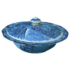 "Vintage Staffordshire Liberty Blue Large 9-inch Covered Vegetable Bowl ""Boston Tea Party"" Dinnerware England"