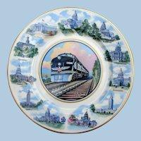 Stunning Missouri Pacific Railroad China State Capitols Service Plate MOPAC  MPRR