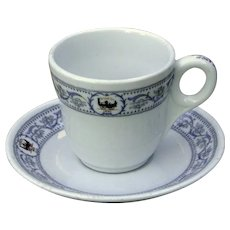 "Vintage New York Central Railroad China ""DeWitt Clinton"" Demitasse Cup and Saucer Set"