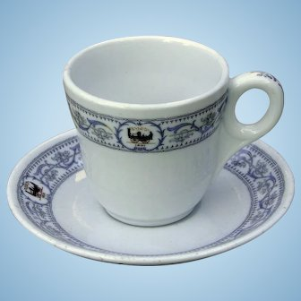 """Vintage New York Central Railroad China """"DeWitt Clinton"""" Demitasse Cup and Saucer Set"""