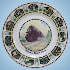 Vintage 1920s Missouri Pacific Railroad China Steam Locomotive Portrait Service Plate MoPac