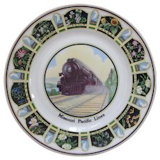 Vintage 1920s Missouri Pacific Railroad China Steam Locomotive Portrait Service Plate MoPac