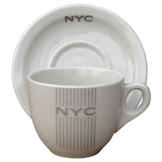 New York Central Railroad 20th Century Limited Gray Mercury Cup and Saucer Set