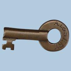 Vintage Santa Fe Railroad Brass Switch Key