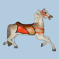 Antique Scarce c. 1900 C. W. Parker Full Size Carousel Horse Carved Wooden Jumper - PRICE NEGOTIABLE