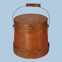 Antique 1800s Small Wooden Firkin Miniature Sugar Bucket with Lid, Fingered Hoops and Copper Nails