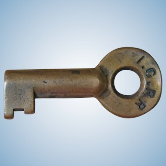 Antique Pre-1900 ICRR Illinois Central Railroad Brass Switch Key