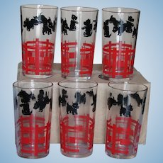 Set of SIX Scotty Dog Drinking Glasses Scottie Tumblers by Federal Glass