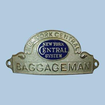 New York Central Railroad Baggageman Hat Cap Badge