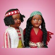 (TWO) Mid-Century Boy  & Girl Native American Indian Children Dolls