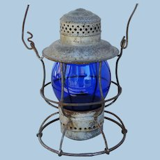 Early 1900s Central Vermont Railway Cobalt Blue Tall Globe Armspear Railroad Lantern