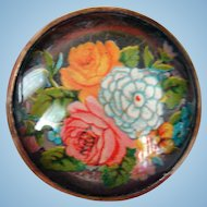 Old Fashion Cabbage Roses Victorian Transfer Floral Bridle Rosette Brooch Pin