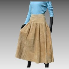Vintage 1980s Designer Eddie Bauer Fabulous Split Suede Leather Full Skirt