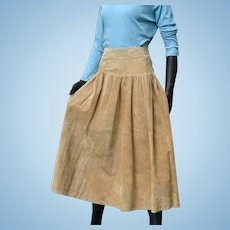 Vintage 1980s Designer Eddie Bauer Fabulous Split Suede Leather Full Skirt