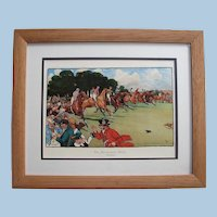 "Framed Horse Racing Print ""The Bluemarket Races: The Start"" by Cecil Aldin"