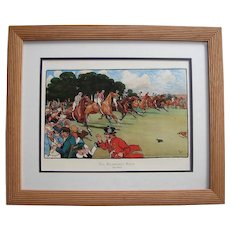 """Framed Horse Racing Print """"The Bluemarket Races: The Start"""" by Cecil Aldin"""