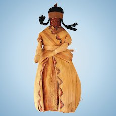 Vintage Native American Corn Husk Cornhusk Indian Doll OOAK Folk Art