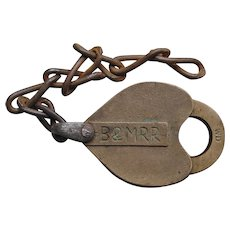 Antique Boston & Maine Railroad B&MRR WD Incised Brass Heart Shape Lock Padlock